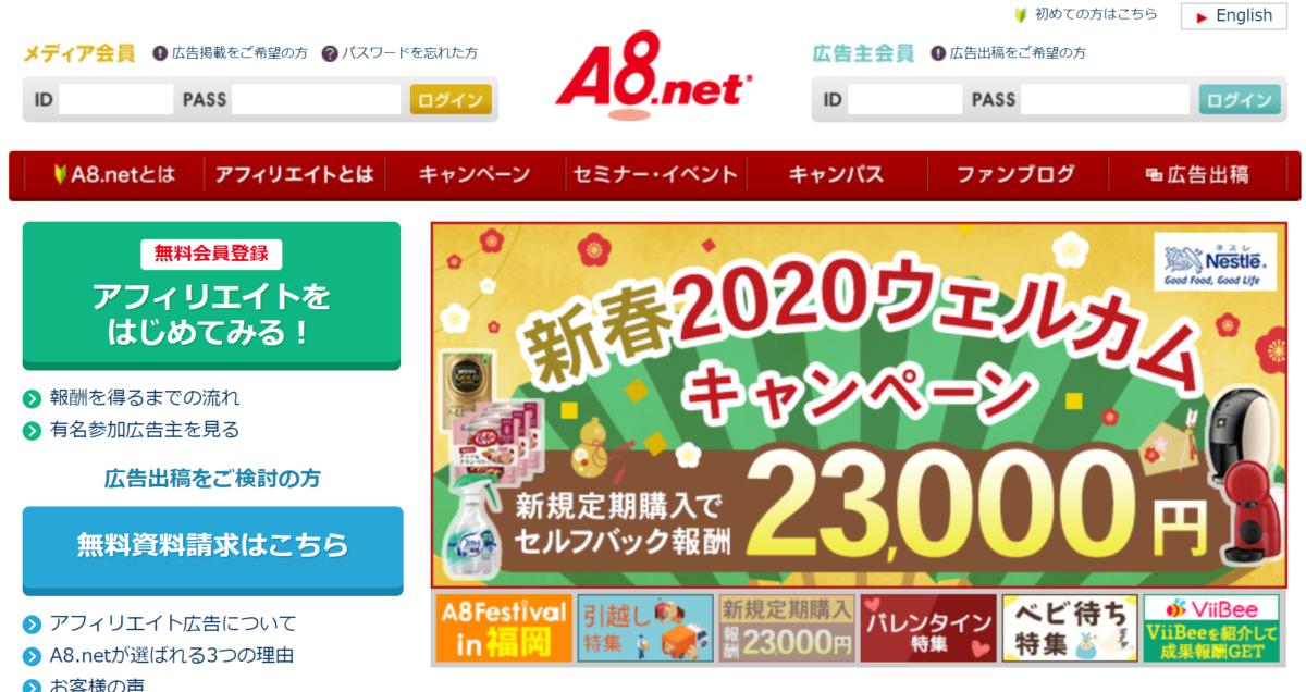 【A8.net】トップ画面