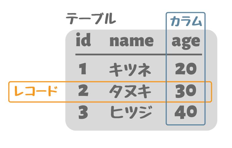 データベーステーブルの構造